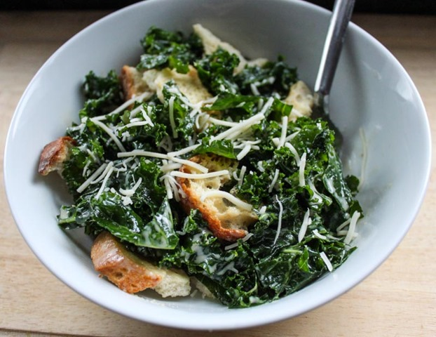 Winter Salad: Gluten Free Kale Caesar Salad with Hazlenut Dressing ...
